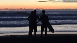 sunset surfing in Bali with Bali Surf Guide